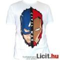 Eladó eredeti Marvel póló - Amerika Kapitány és Vasember arcok póló felnőtt M méret - hivatalos Bosszúálló