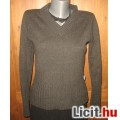 Eladó csinos sötétszürke kötött női pulóver,méret:36