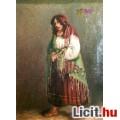 Kosarát takargató mezítlábas cigányasszony, antik olaj-vászon festmény