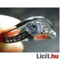 Álomszép elegáns fehér zafír köves aranyozott gyűrű - Vadonatúj!