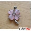 Álomszép pink opál díszítésű ezüstözött lóhere medál Vadonatúj!