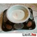 Nagy méretű füles gyümölcstál, Kínai porcelán, gyönyörű madaras mintáv