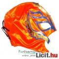 felvehető Pankráció / Pankrátor Maszk - narancs Rey Mysterio maszk lila-arany díszítéssel - szövetbő