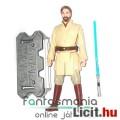 10cm-es Star Wars figura - Obi-Wan Kenobi Jedi Mester figura kék fénykarddal, szakállas megjelenésse