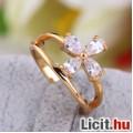 Álomszép fehér zafír strasszos virág gyűrű - Vadonatúj!
