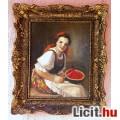 Dinnye kóstoló leány, Geiger Richard antik olaj-vászon festménye, szép