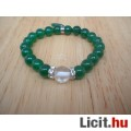 Eladó Különleges elegáns zöld jáde karkötő szív medállal - Vadonatúj!