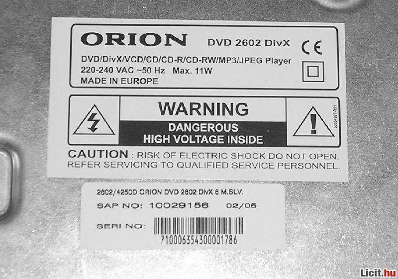 Orion dvd lejátszó használati utasítás