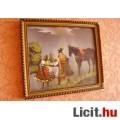 Ló-lovasával (selyemre festett kép 27X23cm)