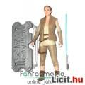 10cm-es Star Wars figura - Jedi Rey figura kék fénykarddal, mellényes megjelenéssel és Star Wars log