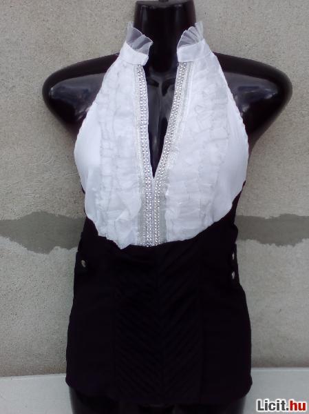 0f4edfd071 Licit.hu # Fekete-fehér nyakpántos alkalmi blúz kb. 38-as Az ...