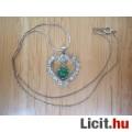 Különleges strasszos zöld jáde szív medál 18 KGP láncon - Vadonatúj!