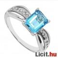 Álomszép elegáns csiszolt akvamarin köves aranyozott gyűrű - Vadiúj!