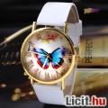 Eladó Pillangós divatos, elegáns női karóra, aranyozott acél tokban fehér bő