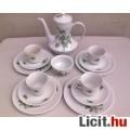 *Bavaria Zöld rózsás porcelán kávés készlet