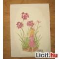 Eladó kézzel hímzett virágtündér kép,dekoráció ÚJ