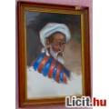Eladó Komoly tekintetű arab férfi portréja olaj-vászon festmény, üvegezett k