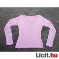 *Rózsaszín csipke ujjú kötött pulóver kb. M-es