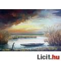 Eladó Nádas csónakkal, modern realista stílusú festmény szignálva keretezve.