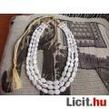 Eladó Eredeti indiai 3 soros fehér jade nyaklánc, nyakék