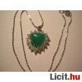 Eladó Álomszép strasszos zöld jáde szív medál + nyaklánc - Vadonatúj!