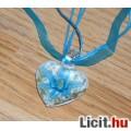 Eladó Álomszép egyedi Muránói üveg kék virágos medál nyaklánccal Vadonatúj!