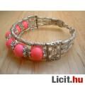 Rózsaszín jáde tibeti ezüst karkötő - Vadonatúj!