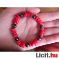 Eladó Természes, vörös bambuszkorall karkötő hematittal