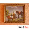 Eladó Ló-lovasával (selyemre festett kép 27X23cm)