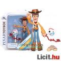 Eladó 12cmes Toy Story figura - Vudi Serif / Woody Sheriff mozgatható játék figura kalappal és Forky minif