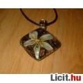 Eladó Álomszép egyedi Muránói üveg fehér virágos medál nyaklánccal Vadonatúj