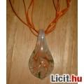 Álomszép egyedi Muránói üveg narancs virágos medál nyaklánccal Vadiúj