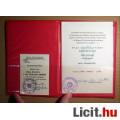 Honvédelmi Érdemérem Okirat miniszteri aláírással + Igazolvány (1980)