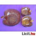 Bronz színű alma formájú üveg kompótos készlet