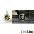Különleges egyedi tigriscsíkos bronz foglalatú medál+nyaklánc - Vadiúj