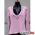 Eladó # Rózsaszín csipke ujjú kötött pulóver kb. M-es