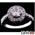 Álomszép fehér zafír strasszos aranyozott gyűrű - Vadonatúj!